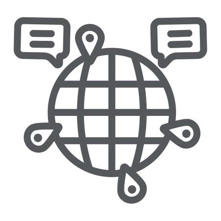 Globe communication line icon, internet and connection, global chat sign, vector graphics, a linear pattern on a white background. Ilustrace