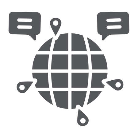 Globe communication glyph icon, internet and connection, global chat sign, vector graphics, a solid pattern on a white background. Ilustrace