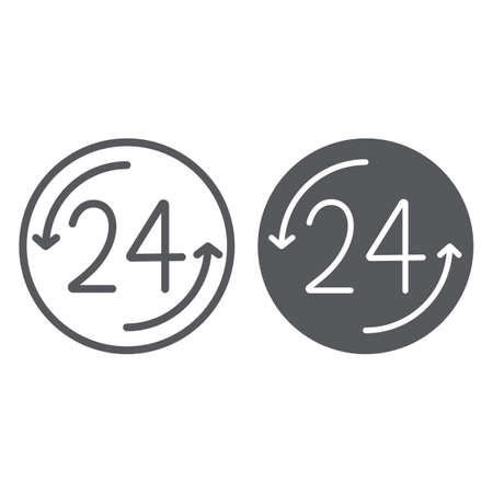 Open 24 hours line and glyph icon, service and time, around the clock sign, vector graphics, a linear pattern on a white background. Illustration