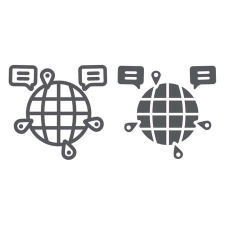 Globe communication line and glyph icon, internet and connection, global chat sign, vector graphics, a linear pattern on a white background.