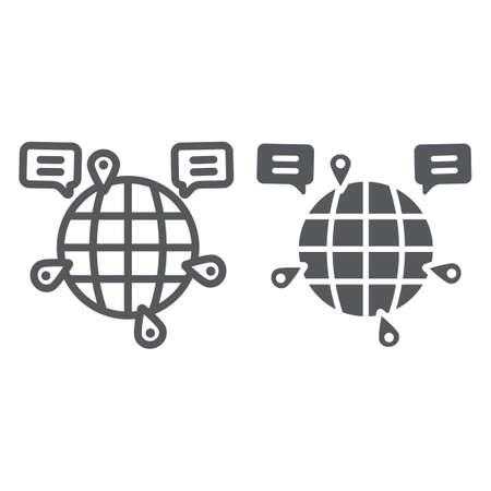 Ligne de communication globe et icône de glyphe, internet et connexion, signe de chat mondial, graphiques vectoriels, un dessin linéaire sur fond blanc.