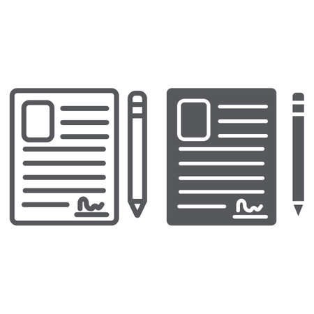 Contact form line and glyph icon, blank and register, document sign, vector graphics, a linear pattern on a white background. Banque d'images - 124932872