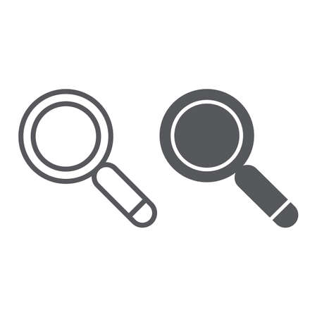 Search line and glyph icon, lens and find, magnifying glass sign, vector graphics, a linear pattern on a white background. Illustration