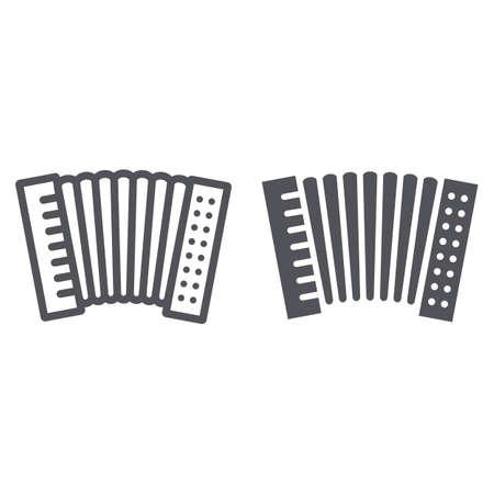 Icono de línea y glifo de acordeón, música y teclado, signo de instrumento nacional, gráficos vectoriales, un patrón lineal sobre un fondo blanco.