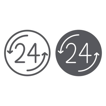 Open 24 hours line and glyph icon, service and time, around the clock sign, vector graphics, a linear pattern on a white background Illustration