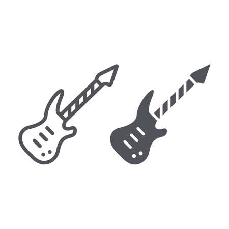 Electric guitar line and glyph icon, music and sound, string musical instrument sign, vector graphics, a linear pattern on a white background. Illustration
