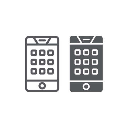Dial number on phone line and glyph icon, mobile and call, keypad on smartphone sign, vector graphics, a linear pattern on a white background.