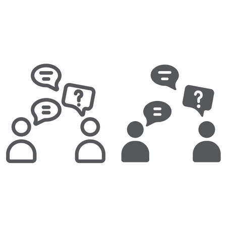 Speaking people line and glyph icon, chat and talking, conversation sign, vector graphics, a linear pattern on a white background.