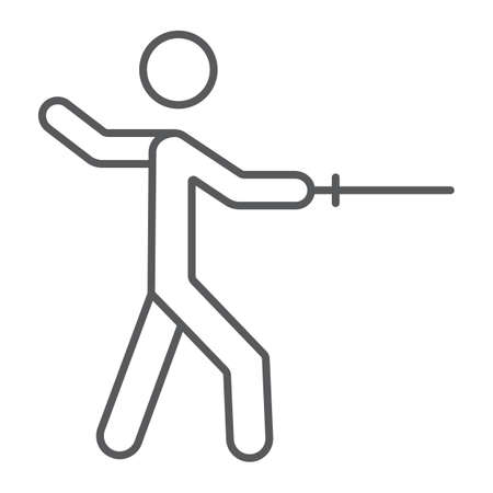 Man fencing thin line icon, sport and fighting, fencer sign, vector graphics, a linear pattern on a white background.
