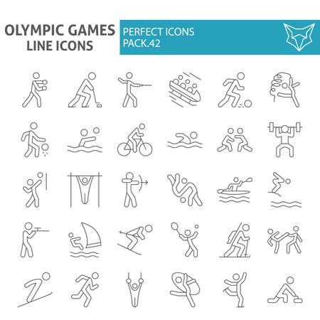 Games line icon set, sport symbols collection, vector sketches,illustrations, sportsman signs linear pictograms package isolated on white background.