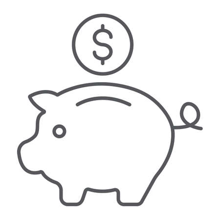 Piggy bank thin line icon, finance and banking, investment sign, vector graphics, a linear pattern on a white background.