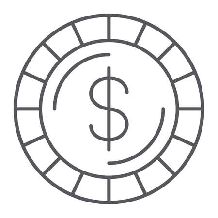 Money coin thin line icon, finance and money, cent sign, vector graphics, a linear pattern on a white background.