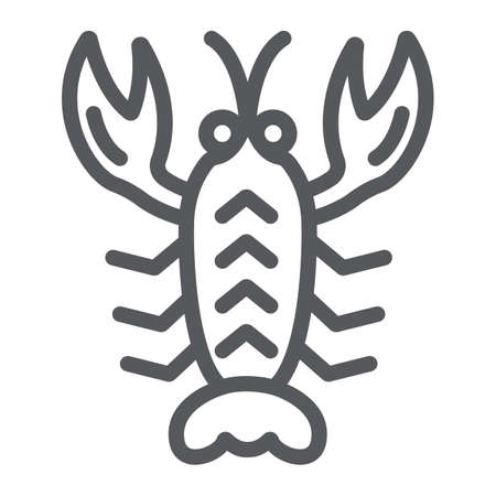 Crawfish line icon, sea and food, lobster sign, vector graphics, a linear pattern on a white background.