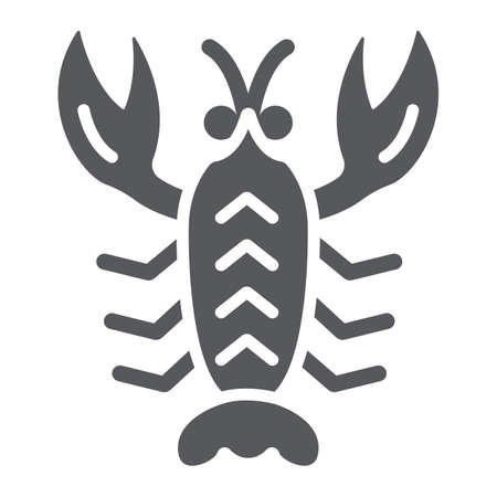Crawfish glyph icon, sea and food, lobster sign, vector graphics, a solid pattern on a white background. Illustration