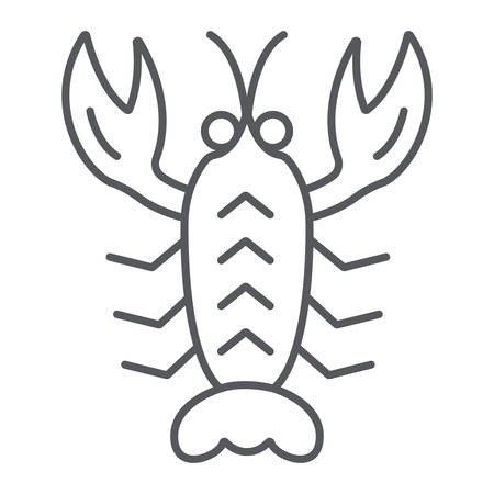 Crawfish thin line icon, sea and food, lobster sign, vector graphics, a linear pattern on a white background. Illustration
