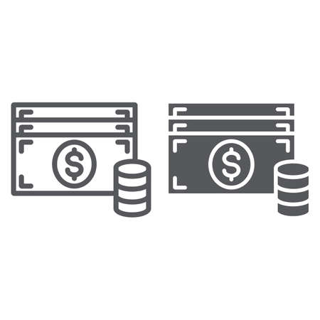 Cash line and glyph icon, finance and currency, money sign, vector graphics, a linear pattern on a white background.
