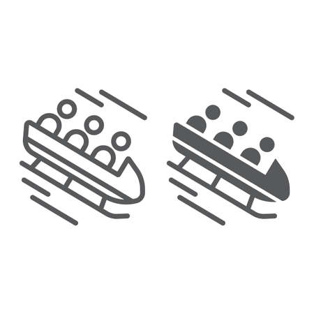 Bobsleigh line and glyph icon, sport and winter, bobsled sign, vector graphics, a linear pattern on a white background.