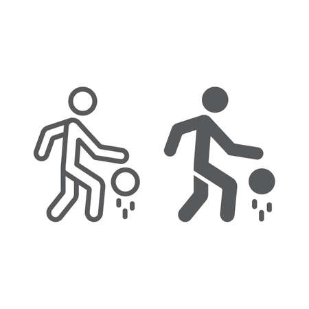 Basketball player line and glyph icon, sport and action, man with ball sign, vector graphics, a linear pattern on a white background. 向量圖像