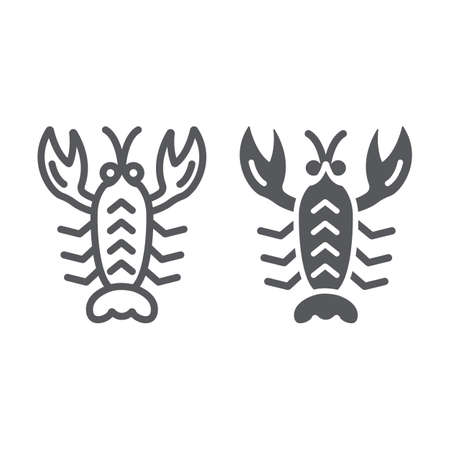 Crawfish line and glyph icon, sea and food, lobster sign, vector graphics, a linear pattern on a white background. Illustration