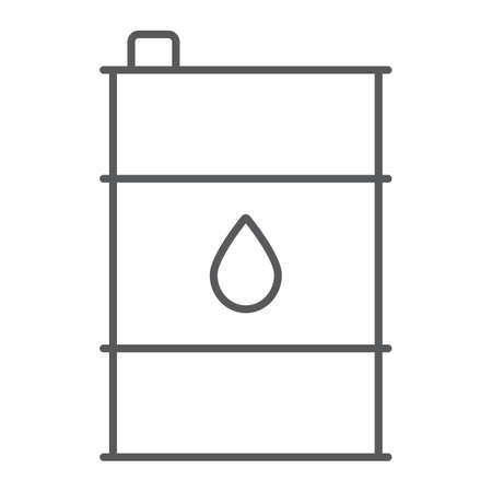 Oil barrel thin line icon, container and industry, oil tank sign, vector graphics, a linear pattern on a white background. Ilustração
