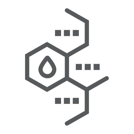 Oil molecule line icon, chemical and molecular, oil formula sign, vector graphics, a linear pattern on a white background.