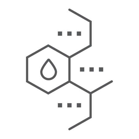 Oil molecule thin line icon, chemical and molecular, oil formula sign, vector graphics, a linear pattern on a white background.