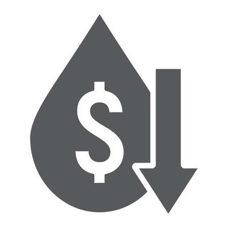 Ölpreissturz-Glyphe-Symbol, Krise und Kraftstoff, niedriges Zeichen der Ölkosten, Vektorgrafiken, ein festes Muster auf weißem Hintergrund.
