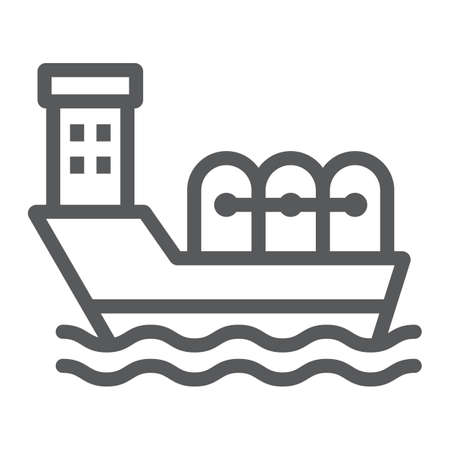 Oil tanker line icon, industrial and boat, oil ship sign, vector graphics, a linear pattern on a white background.