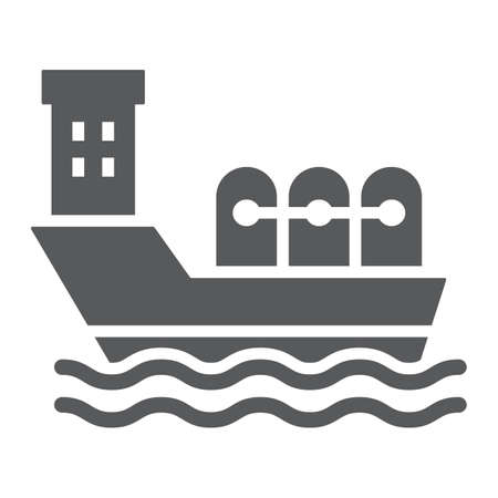 Oil tanker glyph icon, industrial and boat, oil ship sign, vector graphics, a solid pattern on a white background.