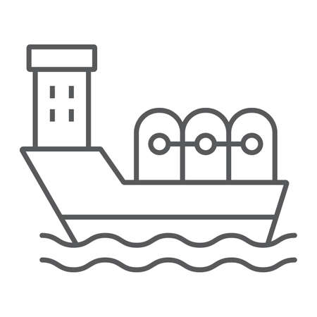 Oil tanker thin line icon, industrial and boat, oil ship sign, vector graphics, a linear pattern on a white background.