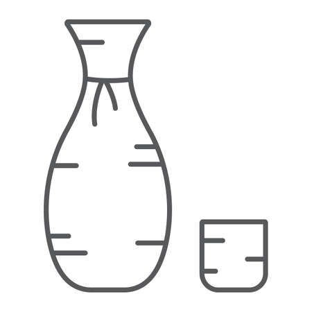 Sake thin line icon, asian and drink, japanese alcohol sign, vector graphics, a linear pattern on a white background.
