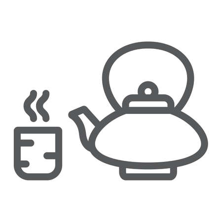 Japanese tea line icon, asian and drink, kettle and cup sign, vector graphics, a linear pattern on a white background.