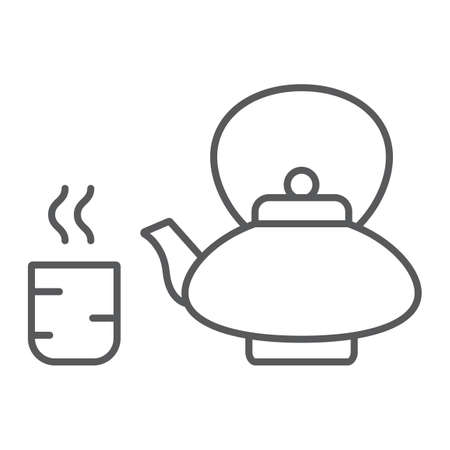 Japanese tea thin line icon, asian and drink, kettle and cup sign, vector graphics, a linear pattern on a white background.