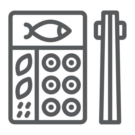 Bento line icon, asian and food, japanese lunch box sign, vector graphics, a linear pattern on a white background.