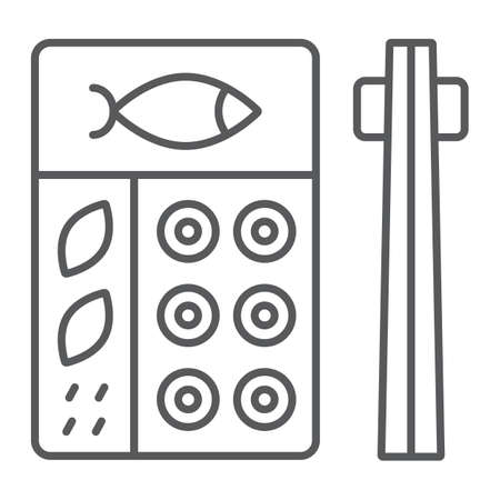 Bento thin line icon, asian and food, japanese lunch box sign, vector graphics, a linear pattern on a white background.