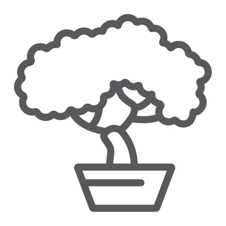 Bonsai line icon, asian and plant, tree sign, vector graphics, a linear pattern on a white background