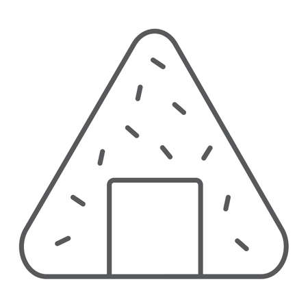 Onigiri thin line icon, asian and food, japanese meal sign, vector graphics, a linear pattern on a white background. Иллюстрация