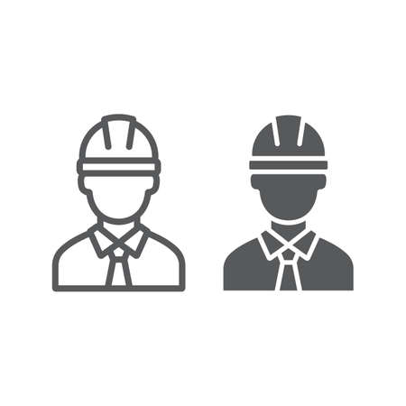 Oilman line and glyph icon, industy and man, worker sign, vector graphics, a linear pattern on a white background.