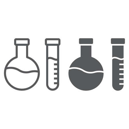 Chemical analysis line and glyph icon, laboratory and flask, tube test sign, vector graphics, a linear pattern on a white background.