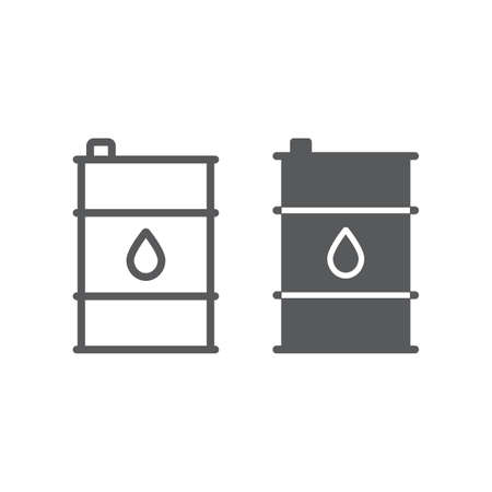 Oil barrel line and glyph icon, container and industry, oil tank sign, vector graphics, a linear pattern on a white background. Иллюстрация