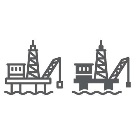Oil platform line and glyph icon, industrial and derrick, oil rig sign, vector graphics, a linear pattern on a white background.