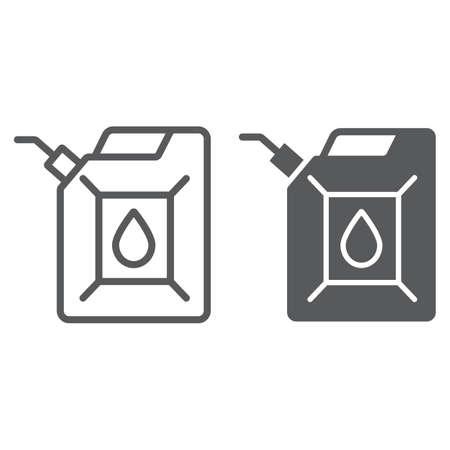 Jerrycan line and glyph icon, canister and container, fuel tank sign, vector graphics, a linear pattern on a white background.