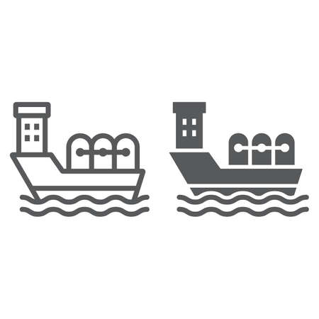 Oil tanker line and glyph icon, industrial and boat, oil ship sign, vector graphics, a linear pattern on a white background.