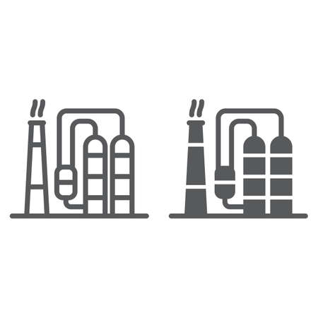 Refinery line and glyph icon, industy and factory, industrial plant sign, vector graphics, a linear pattern on a white background.