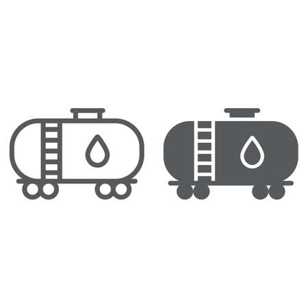 Oil tank line and glyph icon, industy and container, fuel train sign, vector graphics, a linear pattern on a white background.