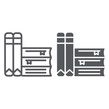 Books line and glyph icon, school and learning, literature sign, vector graphics, a linear pattern on a white background. Иллюстрация