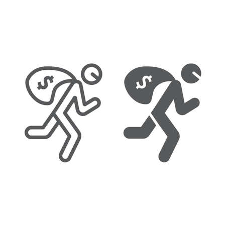 Robbery line and glyph icon, crime and burglary, thief with money bag sign, vector graphics, a linear pattern on a white background. Illustration