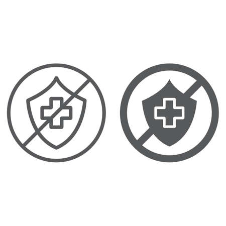 Uninsured line and glyph icon, protection and life, crossed shield sign, vector graphics, a linear pattern on a white background.