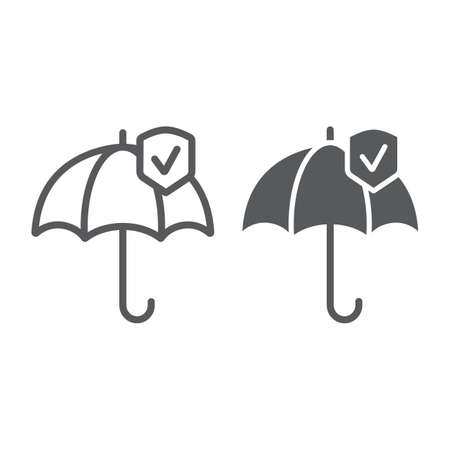 Reliability line and glyph icon, protection and reliable, umbrella sign, vector graphics, a linear pattern on a white background. Иллюстрация