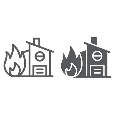Fire insurance line and glyph icon, protection and house, home on fire sign, vector graphics, a linear pattern on a white background.